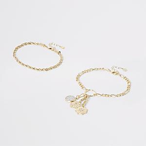 Bracelet de cheville multirang doré