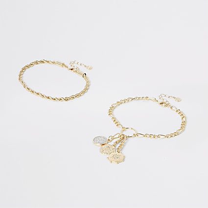 Gold colour layered anklet