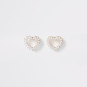 Rose gold color heart stud earrings