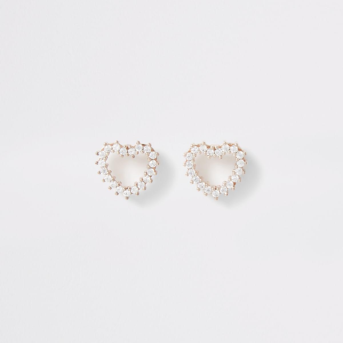 Rose gold colour heart stud earrings
