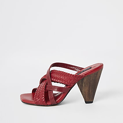 Red woven cross strap mule