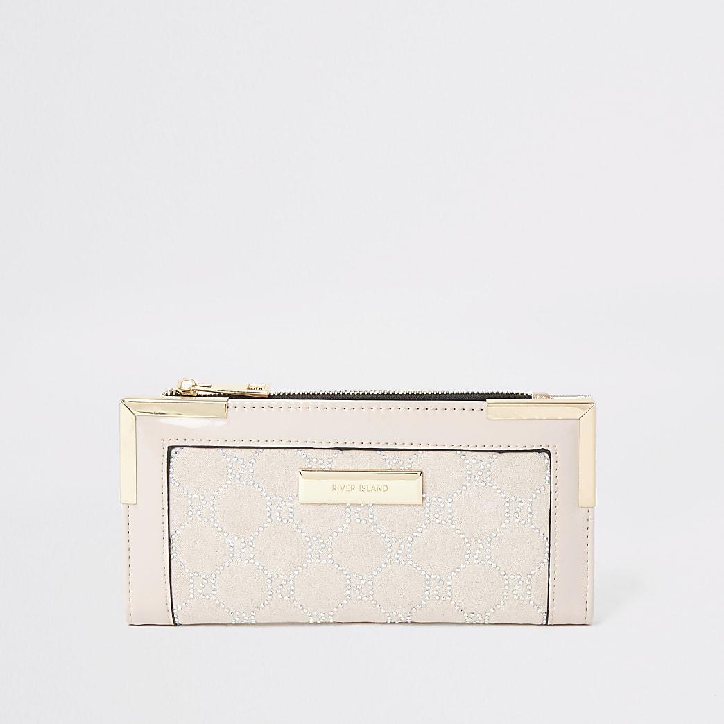 Roze verfraaide uitvouwbare portemonnee met metalen hoeken