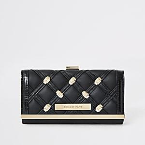 Zwarte gestikte portemonnee met cliptop en studs