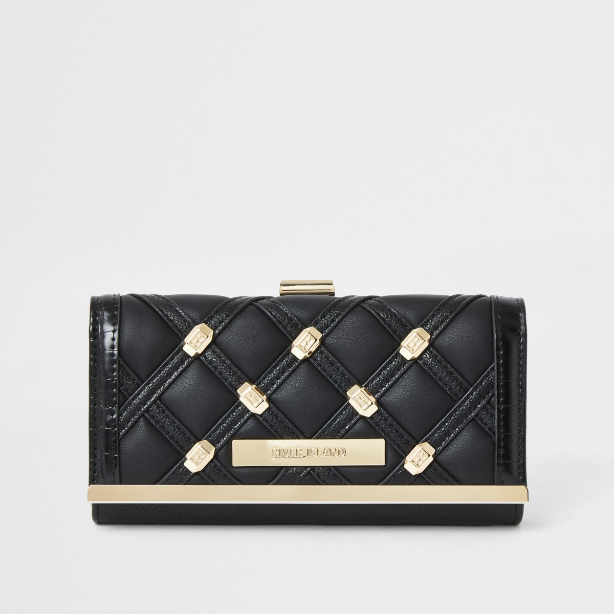 Black stud quilted cliptop purse
