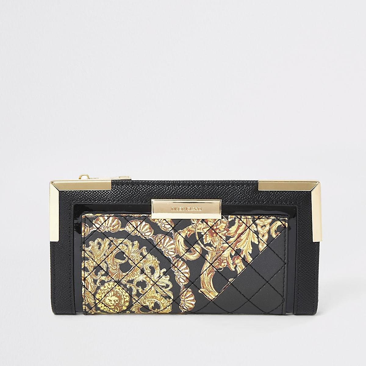 Zwarte gestikte uitvouwbare portemonnee met print