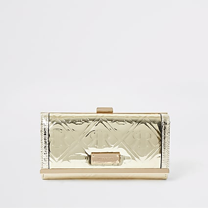 Gold metallic RI embossed clip top purse
