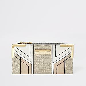 Crème metallic uitvouwbare portemonnee met druksluiting