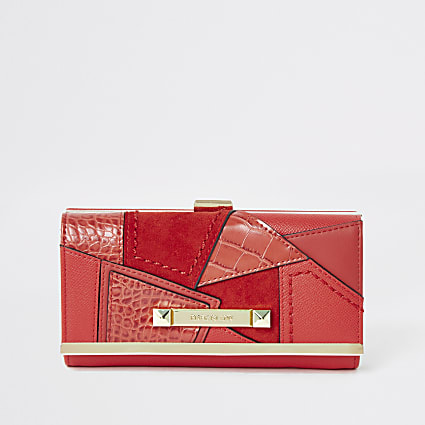 Bright red patchwork cliptop purse