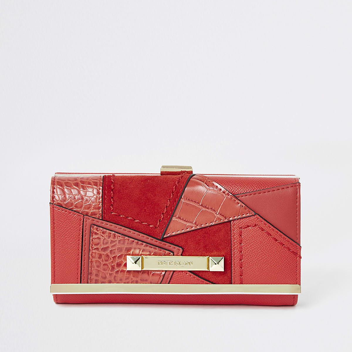 Porte-monnaie rouge vif style patchwork