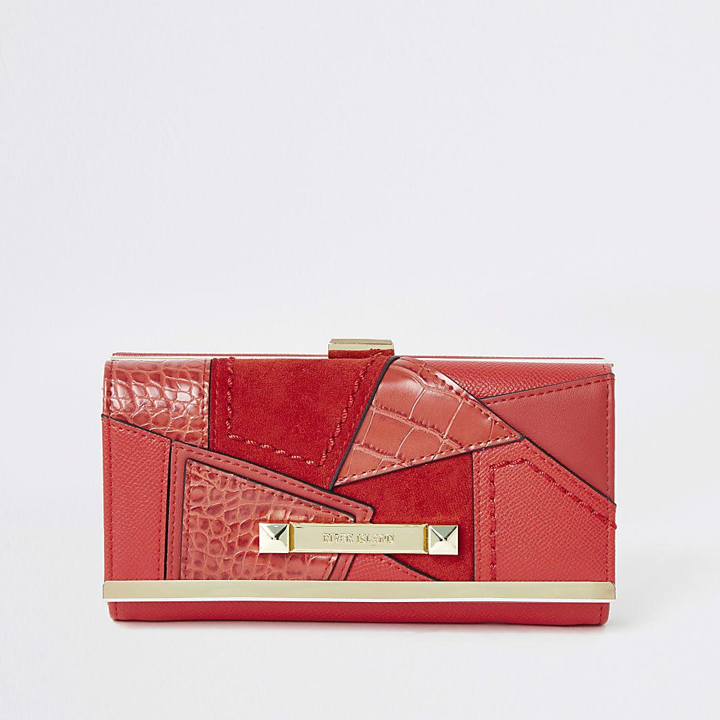 Felrode patchwork portemonnee met cliptop