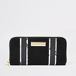 Black zip around purse