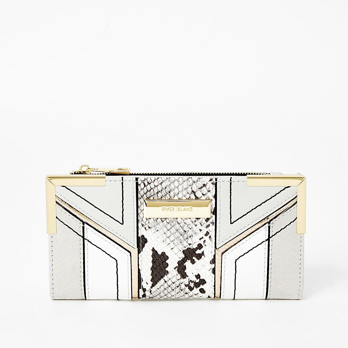Grijze uitvouwbare portemonnee met slangenprint en druksluiting
