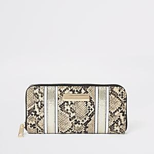 Beige portemonnee met slangenprint en rits rondom