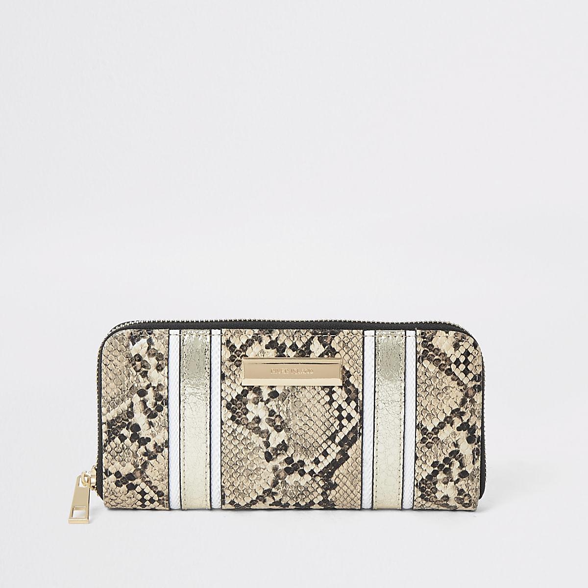 Portefeuille en cuir imprimé serpent beige zippé