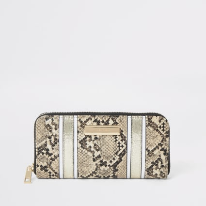 Beige snake print zip around purse