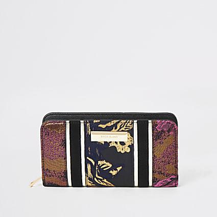 Black jacquard print zip around purse