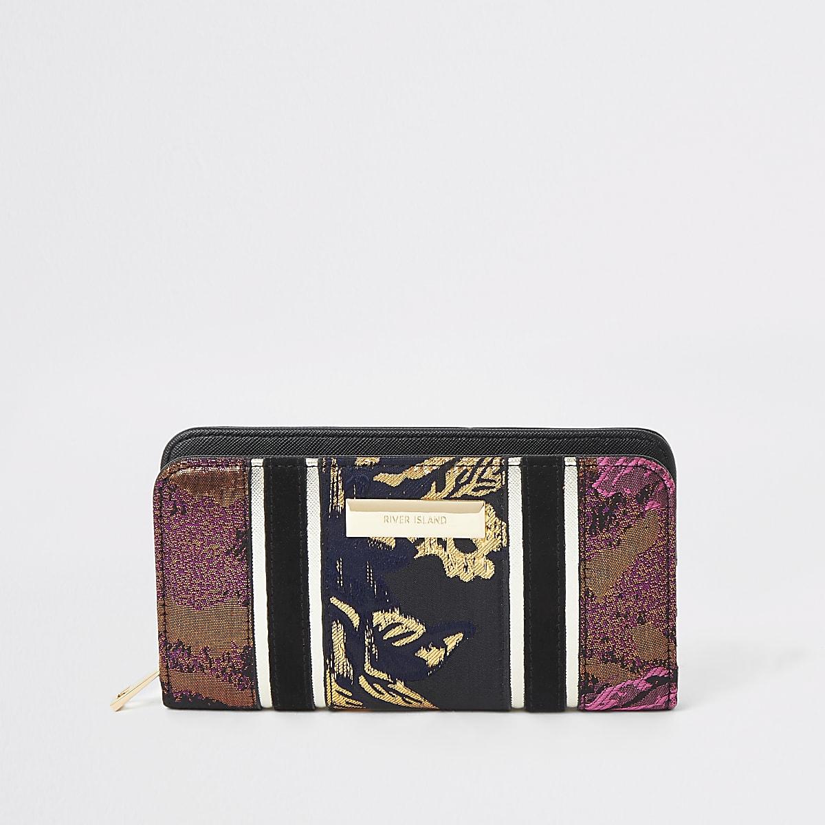 Zwarte portemonnee met rits rondom en jacquardprint