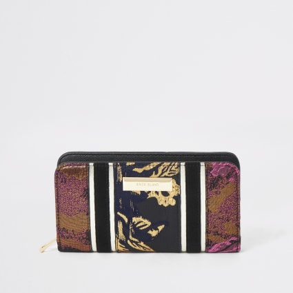 Black jacquard print zip around purse