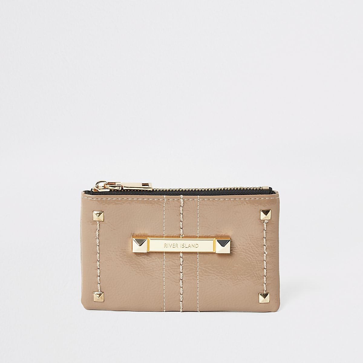 Beige studded RI mini zip pouch