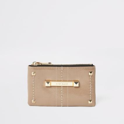 Beige studded RI mini zip pouch
