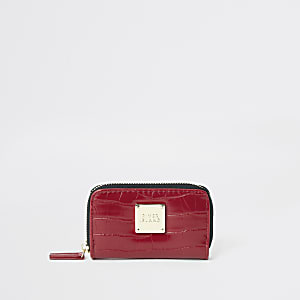 Red croc embossed mini zip around purse