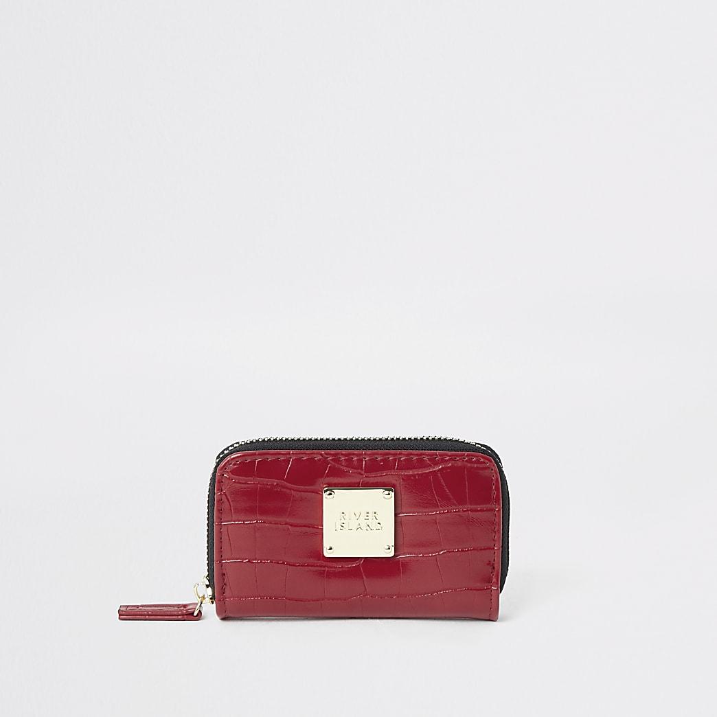Red croc embossed mini zip around purse