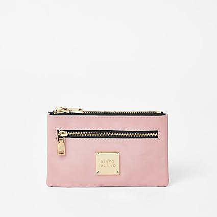 Pink RI zip pocket mini pouch