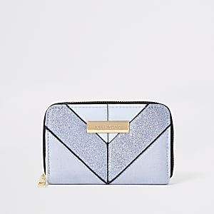 Light blue glitter mini zip around purse