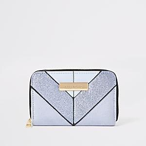 Lichtblauwe glitter mini-portemonnee met rits rondom