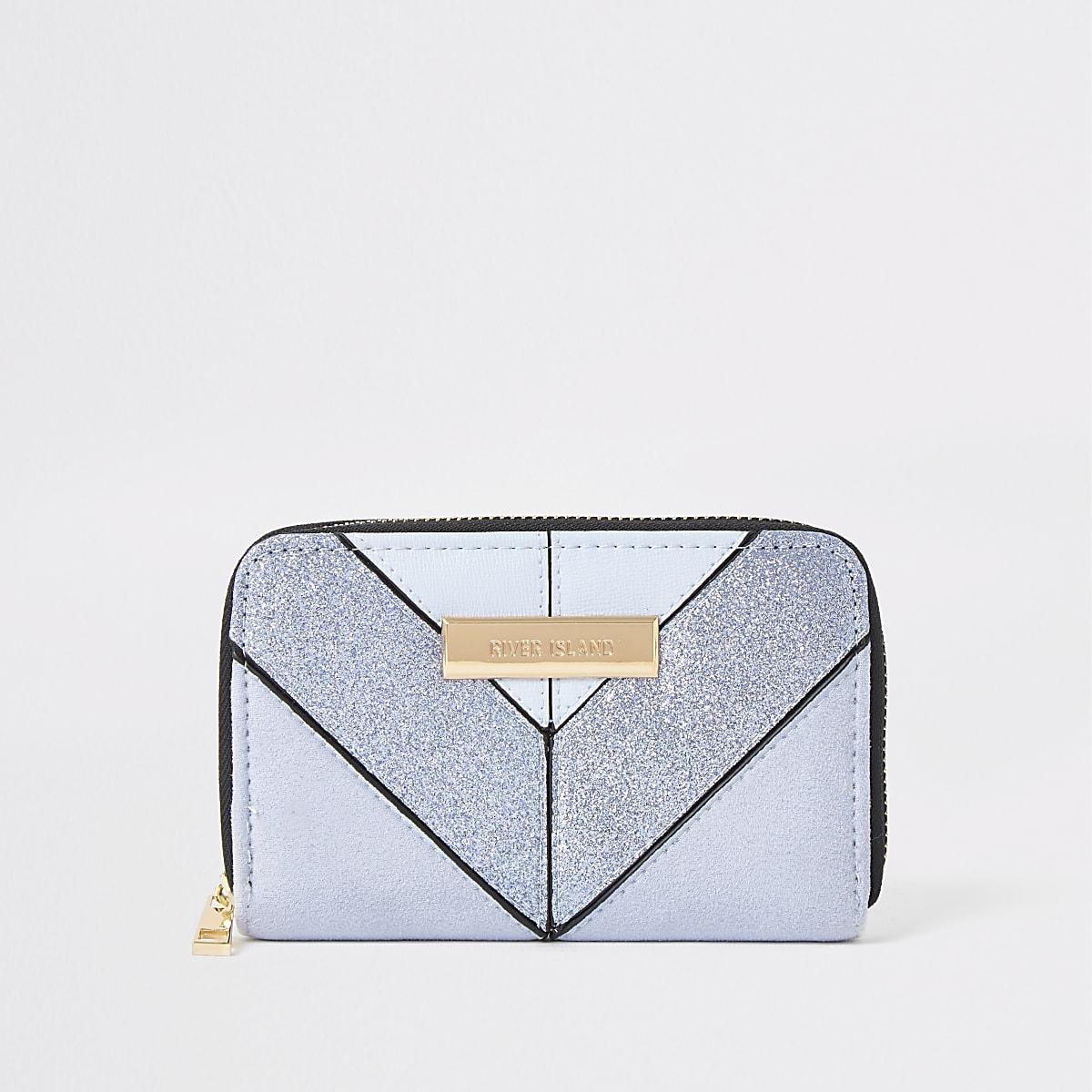 Hellblaue Mini-Geldbörse mit Glitzer und Reißverschluss