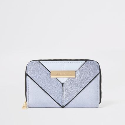 Light blue glitter mini zip around purse