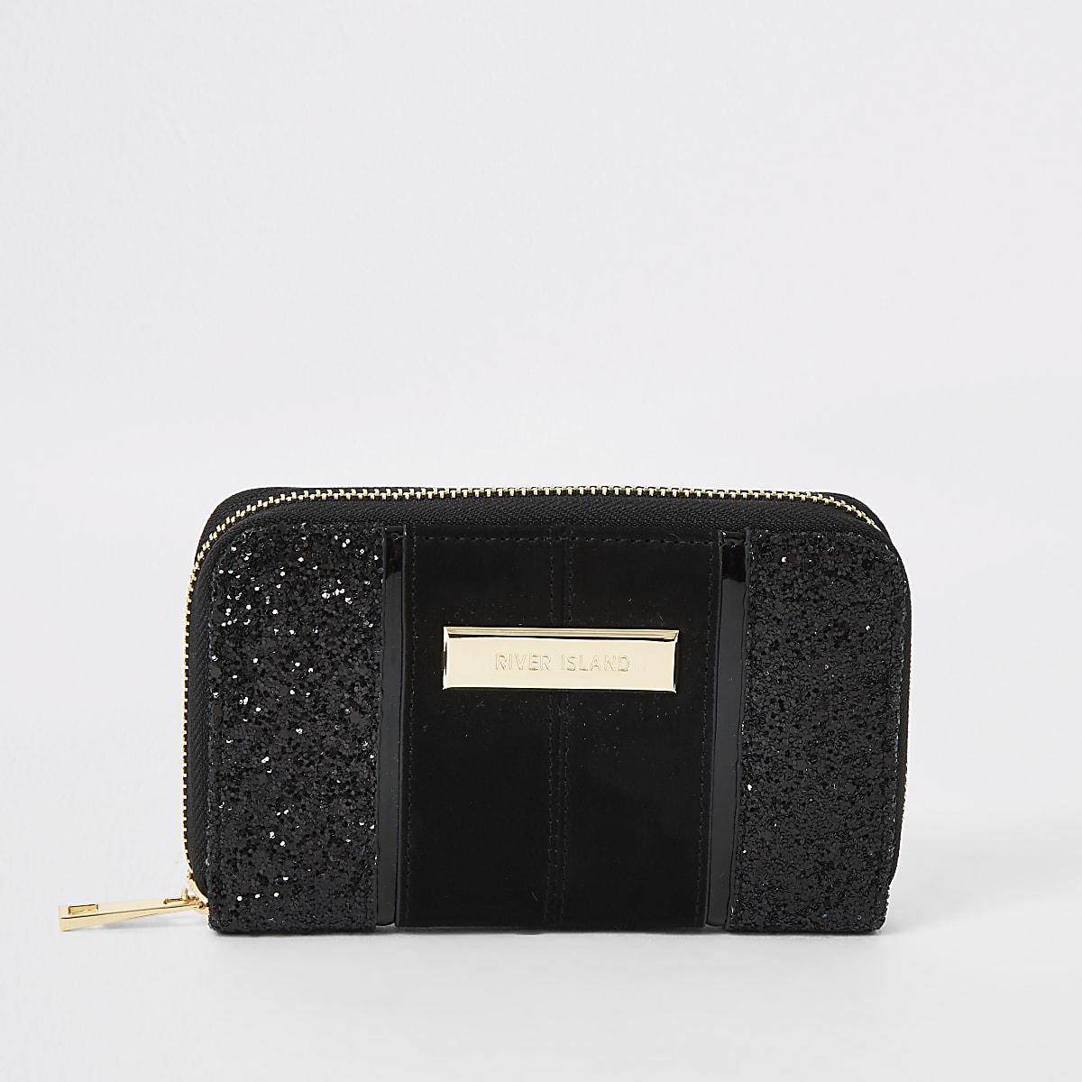 Black glitter small zip around purse
