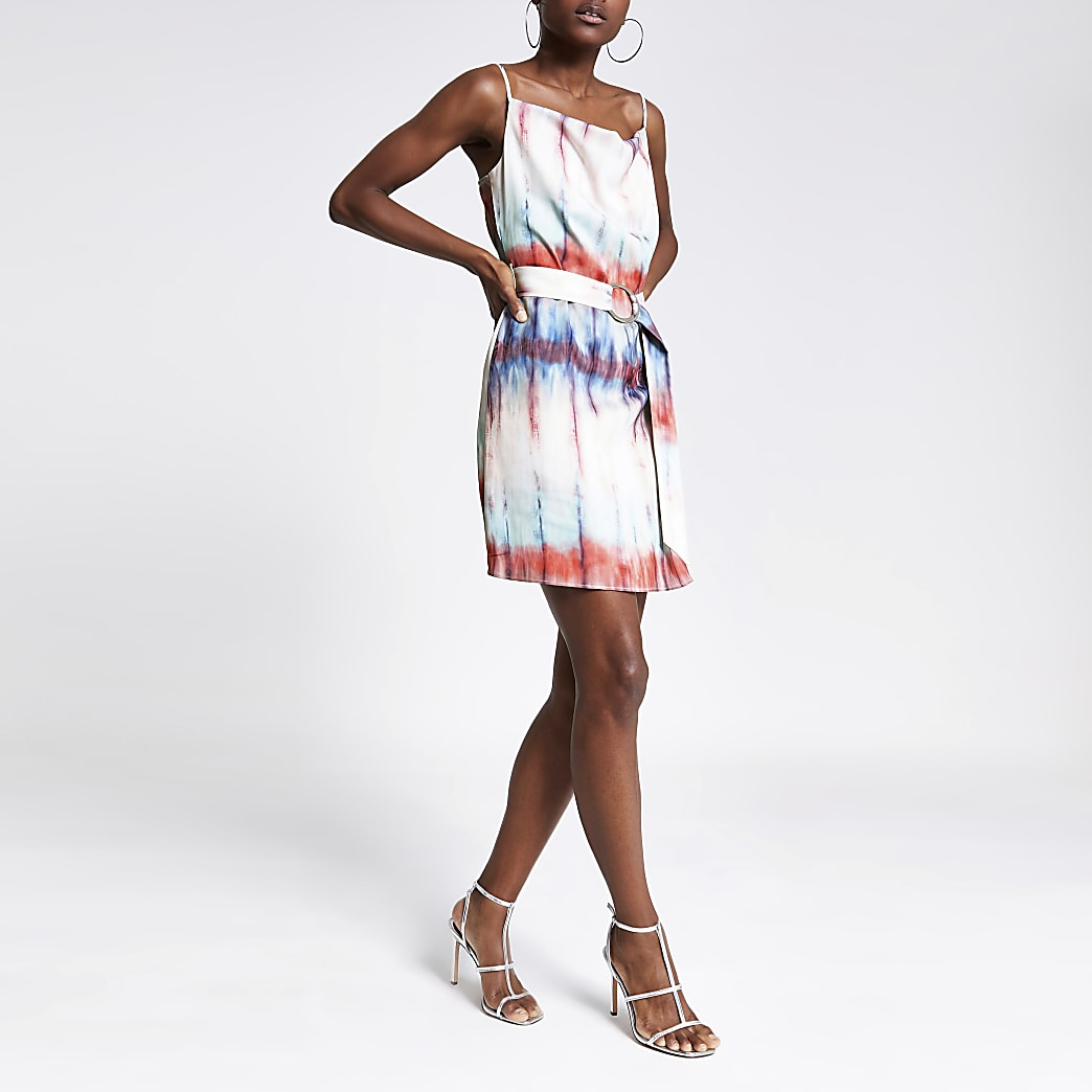 Blue print cowl neck belted slip dress