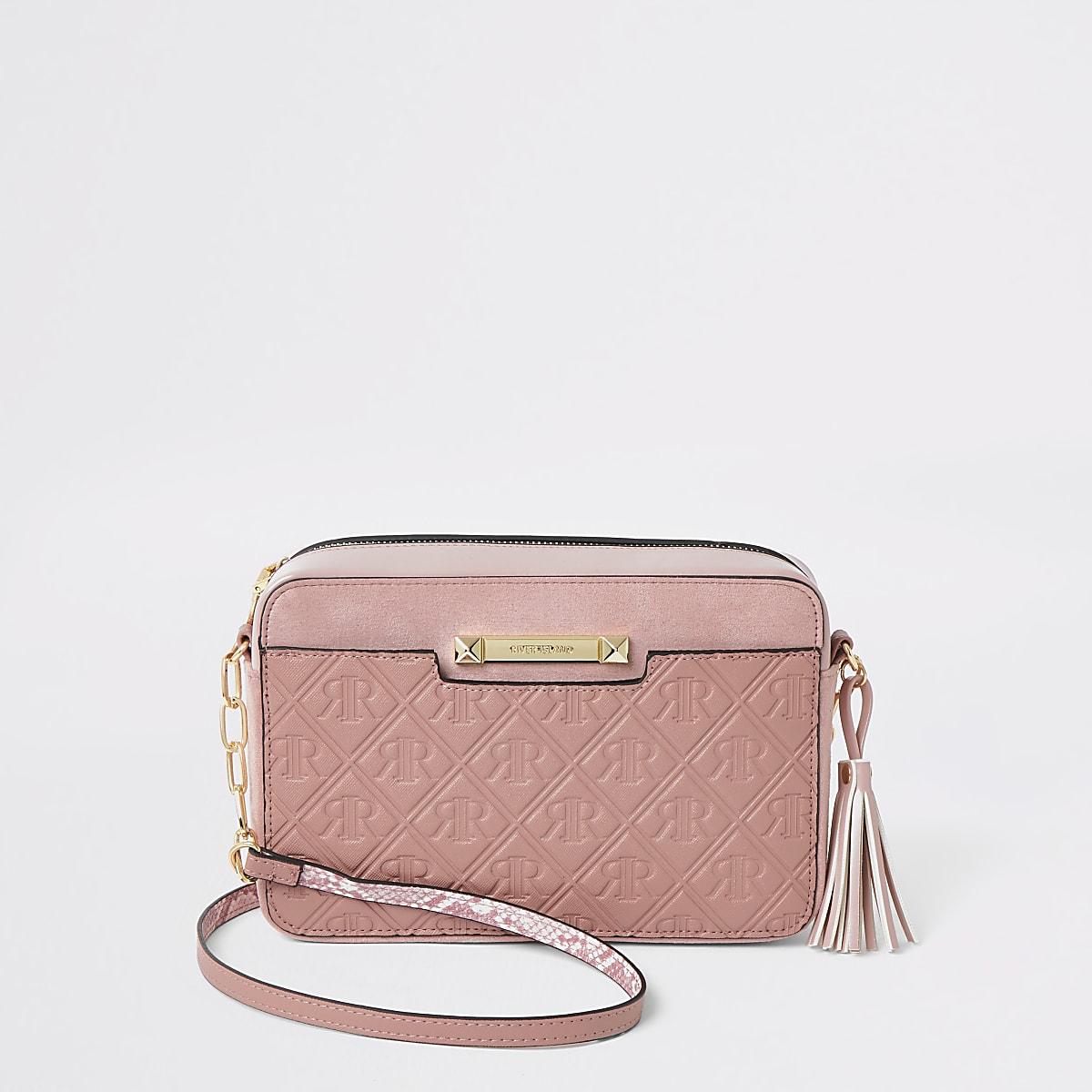 Pink RI monogram boxy cross body bag