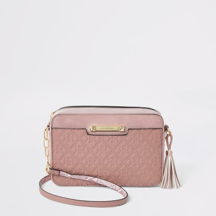 Pink RI monogram boxy cross body bag