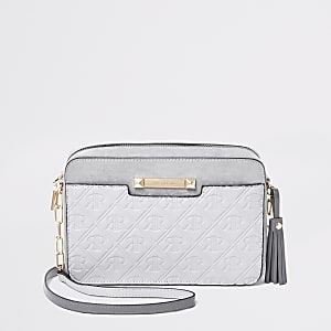 Grey monogram cross body