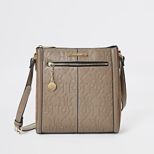 Beige zip front cross body bag