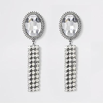 Silver colour jewell tassel drop earrings