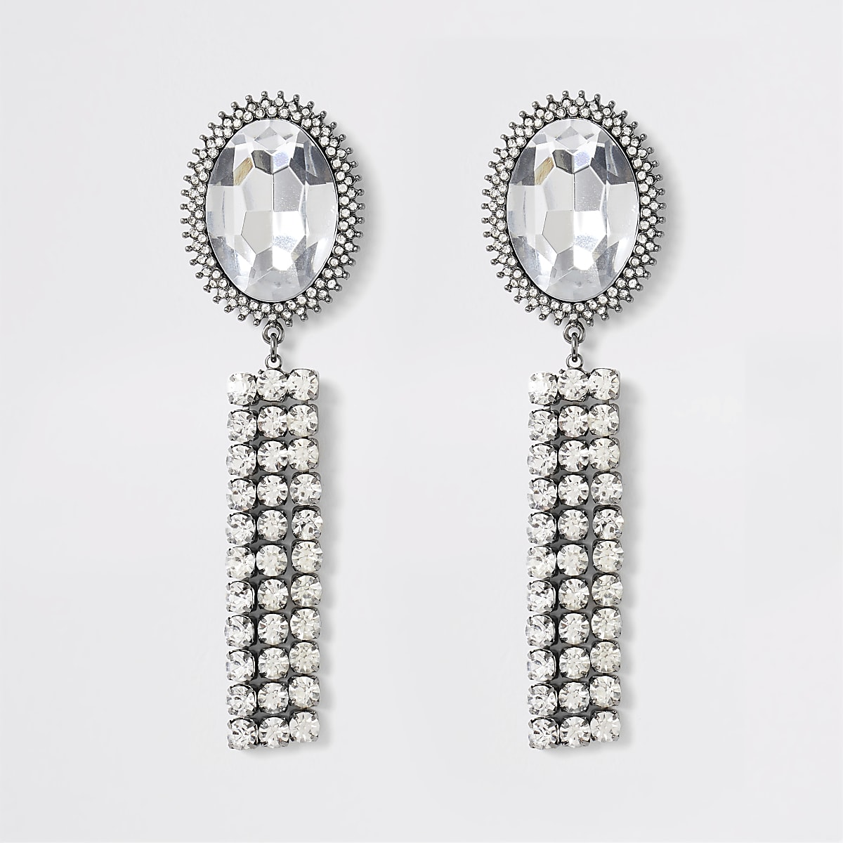 Silver colour jewell tassel drop earrings