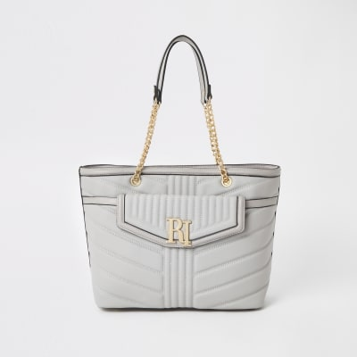 41b97f9b531 Light grey quilted front pocket tote bag - Shopper & Tote Bags - Bags &  Purses - women