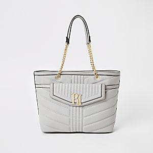 Hellgraue Tote Bag mit Fronttasche
