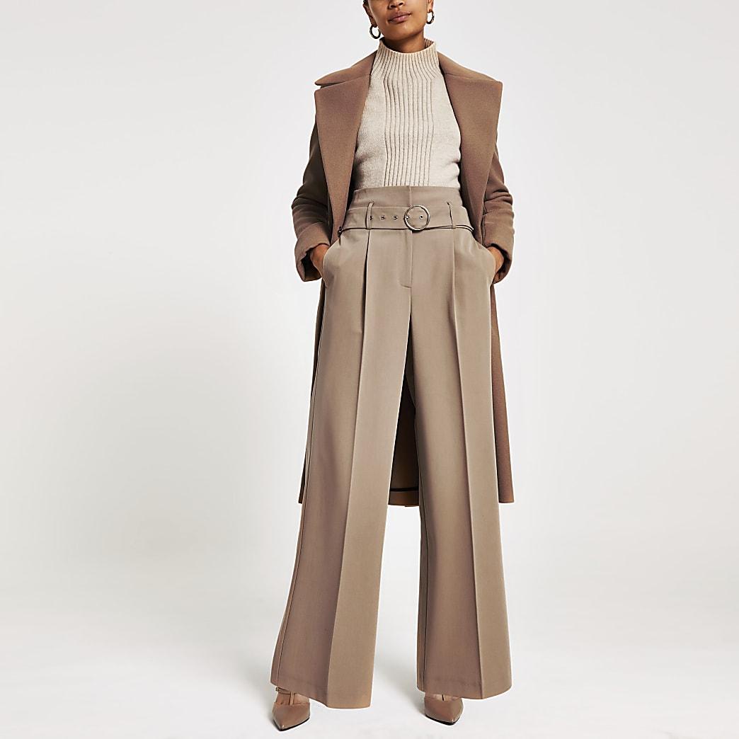 Bruine broek met wijde pijpen en ceintuur