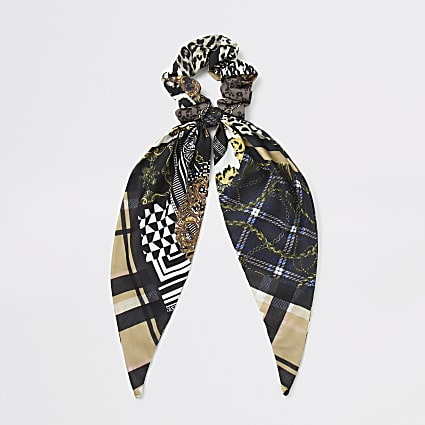 Brown scarf print scrunchie