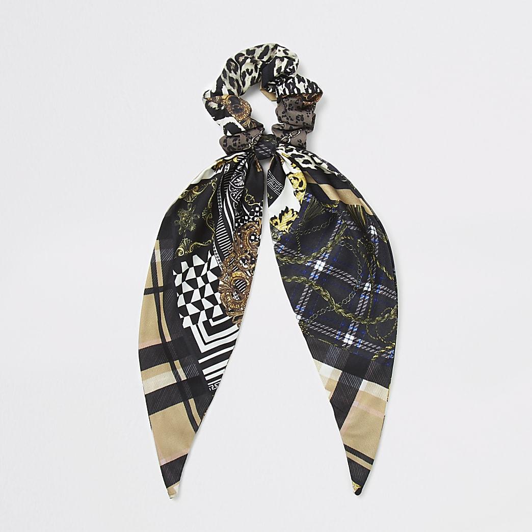 Brown scarf print scrunchie
