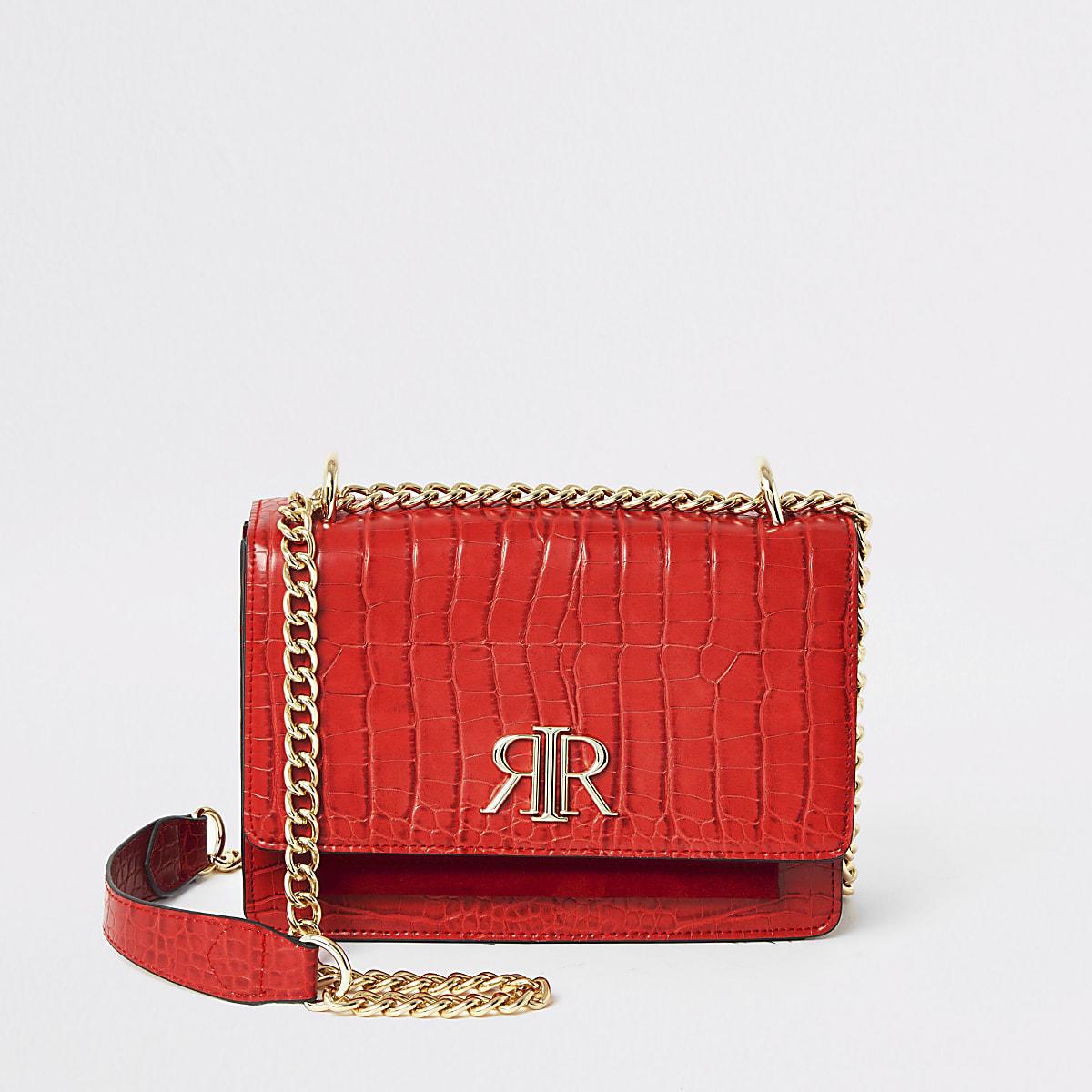 Red RI croc embossed underarm satchel bag