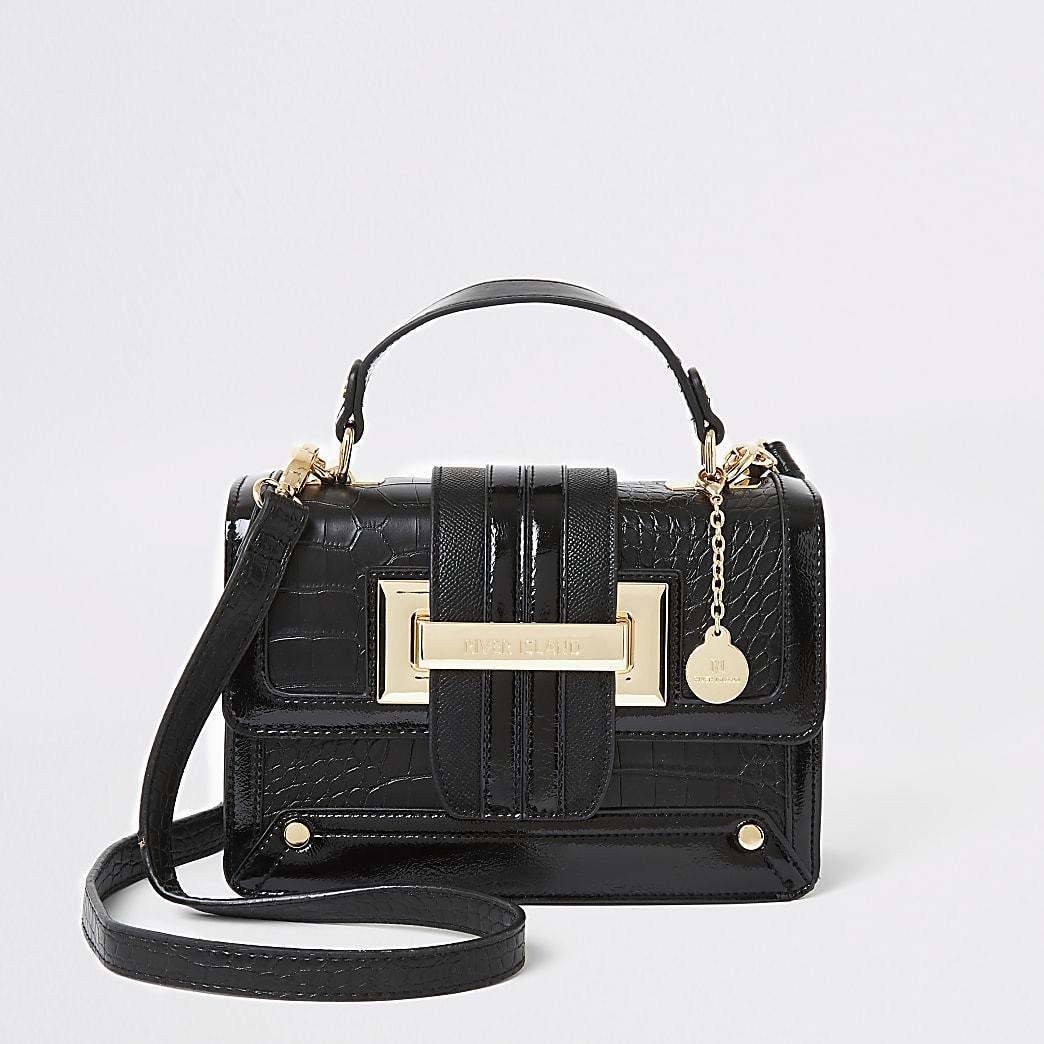 Zwarte croc satchel met reliëf crossbodytas