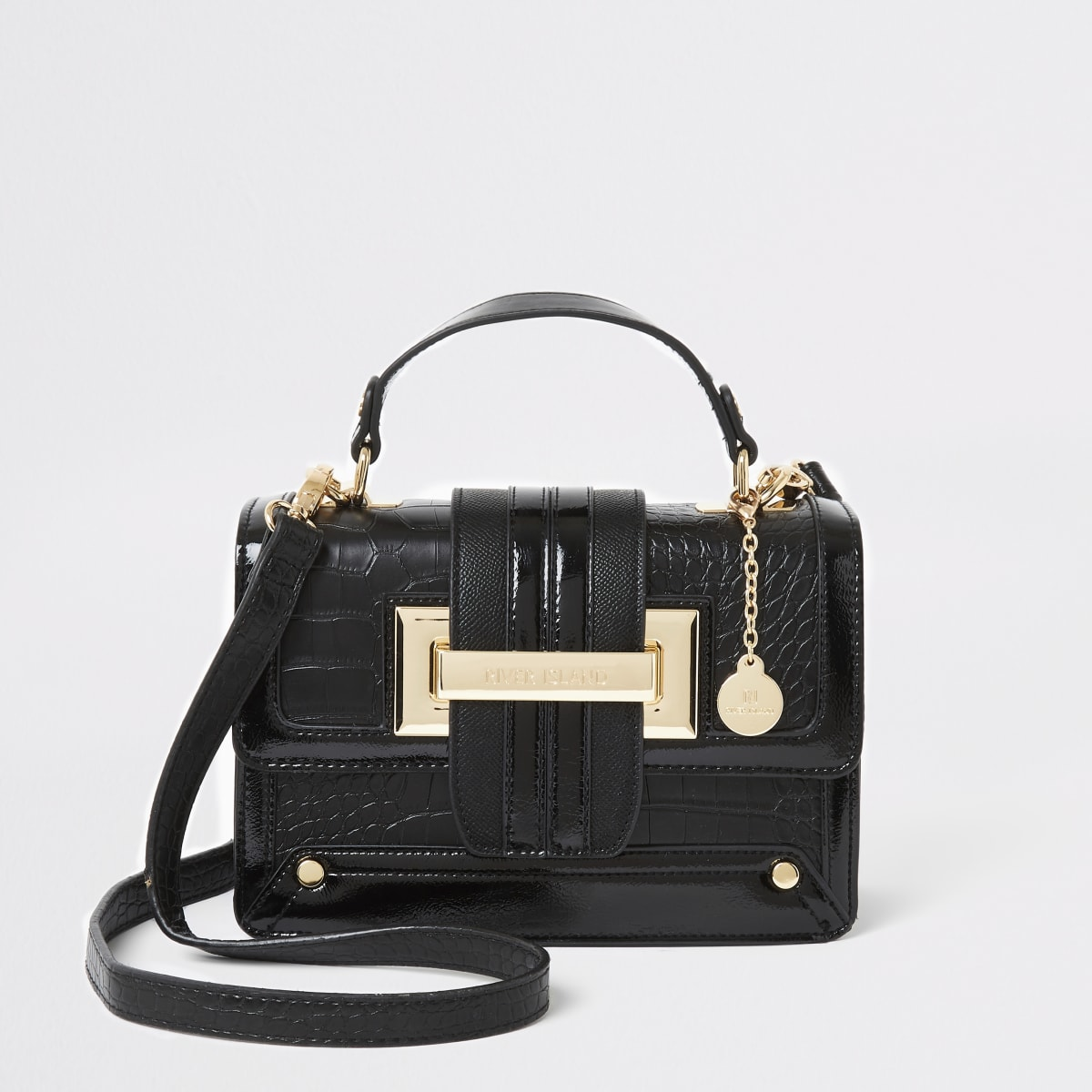Black croc embossed satchel cross body bag
