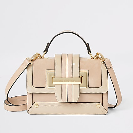 Beige buckle tote cross body bag