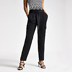 Pantalon utilitaire en satin noir