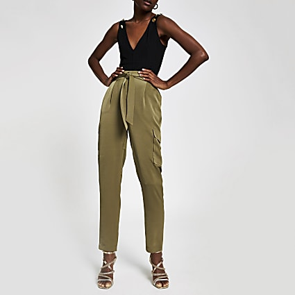 Khaki satin utility trousers